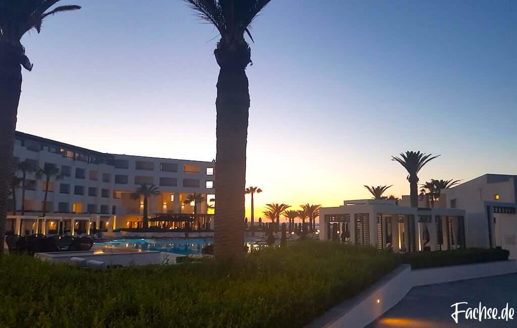 Palmen Grecotel Creta Palace Sonnenuntergang